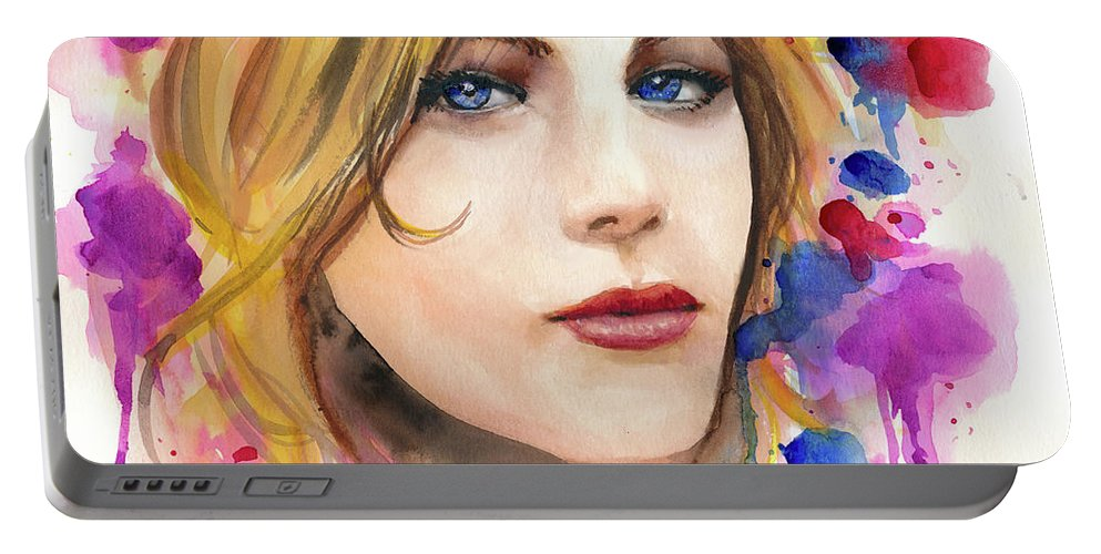 Modern Watercolor Girl Faces Portable Battery Charger featuring the painting Those Eyes by Murry Whiteman