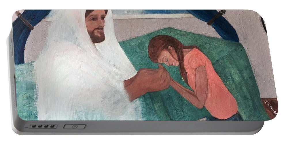Jesus Portable Battery Charger featuring the painting Those Who Hope In The Lord Will Renew Their Strength by Anna Mize Bell