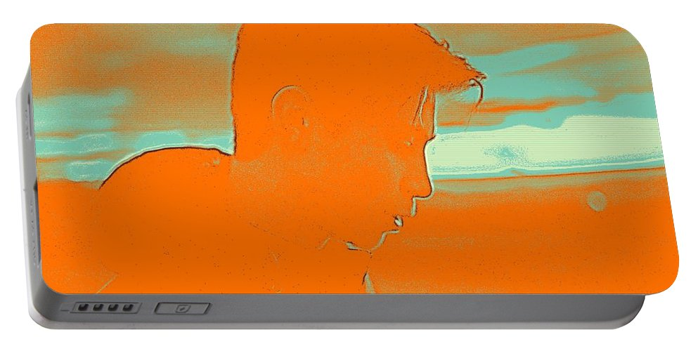 Man Portable Battery Charger featuring the painting Thoughful Youth 4 by Celestial Images