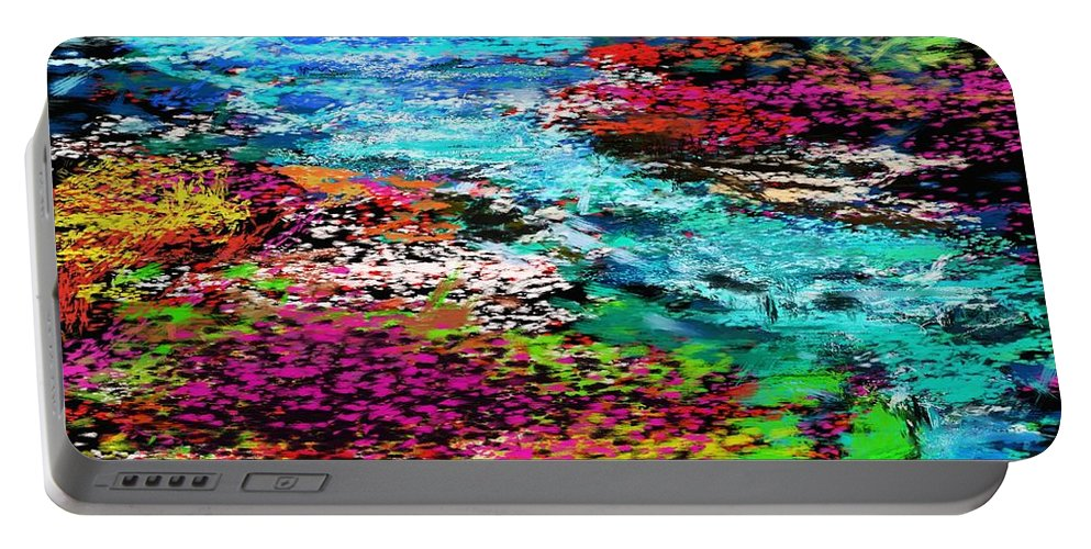 Abstract Portable Battery Charger featuring the digital art Thought Upon A Stream by David Lane