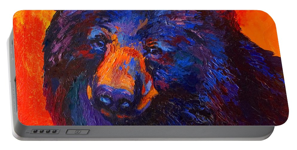 Bear Portable Battery Charger featuring the painting Thoughtful - Black Bear by Marion Rose
