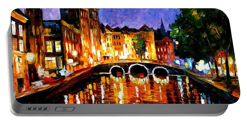Afremov Portable Battery Charger featuring the painting Thoughtful Amsterdam by Leonid Afremov