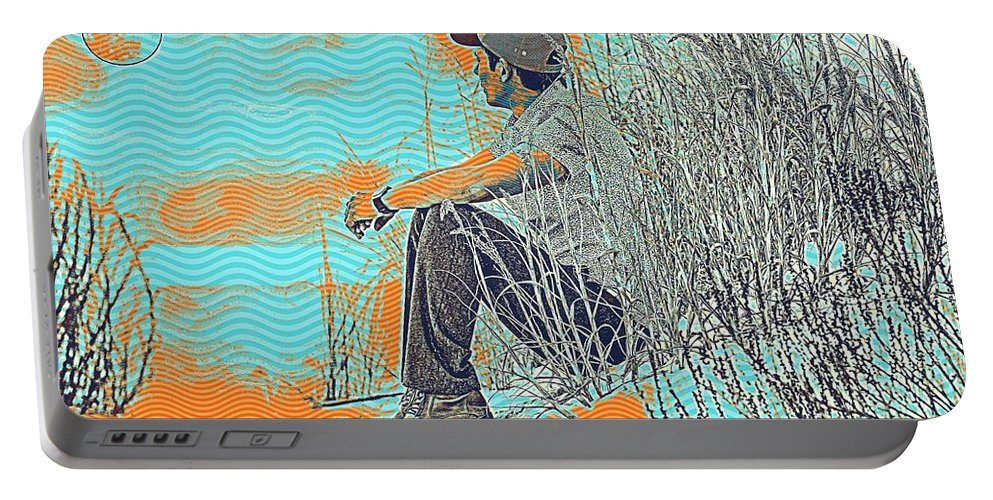 Man Portable Battery Charger featuring the painting Thoughtful Youth 7 by Celestial Images
