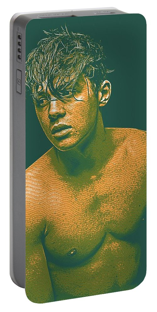 Man Portable Battery Charger featuring the painting Thoughtful Youth Series 14 by Celestial Images