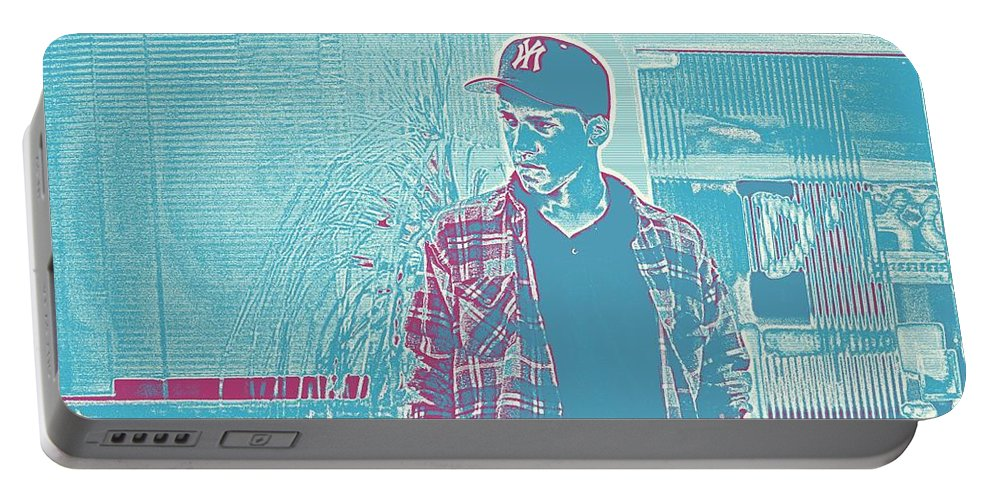 Man Portable Battery Charger featuring the painting Thoughtful Youth Series 31 by Celestial Images