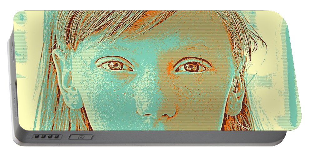Girl Portable Battery Charger featuring the painting Thoughtful Youth Series 33 by Celestial Images
