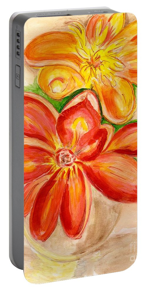Orange Red Flowers Portable Battery Charger featuring the painting Thoughtfulness by Anne Gitto