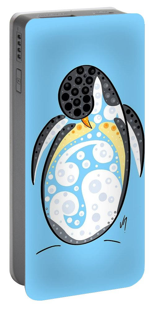 Stylized Portable Battery Charger featuring the painting Thoughts And Colors Series Penguin by Veronica Minozzi