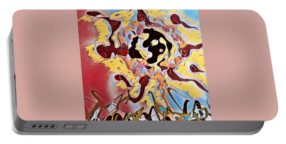 Abstract Painting Of My Thoughts. Portable Battery Charger featuring the painting Thoughts by Lisa S Patti