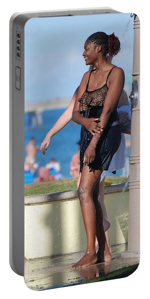 Bathing Suit Portable Battery Charger featuring the photograph Three Arms At The Shower by Rob Hans