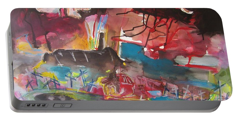 Original Portable Battery Charger featuring the painting Three Arms10 Original Abstract Colorful Landscape Painting For Sale Red Blue Green by Seon-Jeong Kim