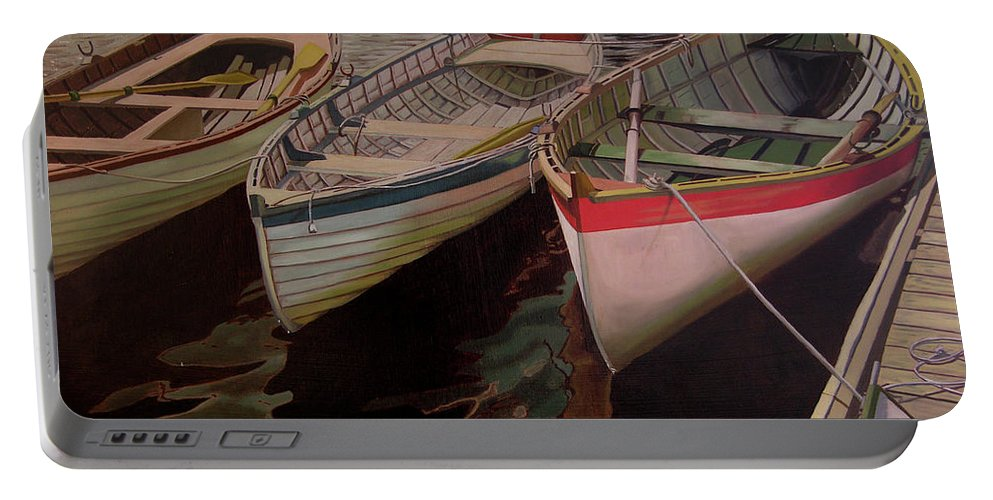 Boats Portable Battery Charger featuring the painting Three Boats by Thu Nguyen