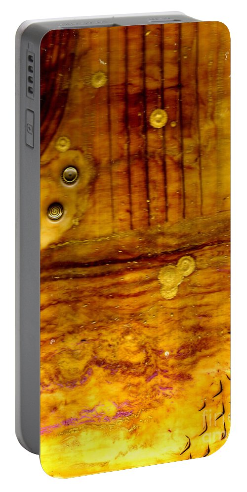 Wood Portable Battery Charger featuring the mixed media Three Brass Rings II by Angela L Walker
