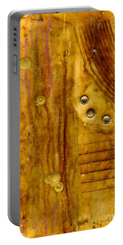 Wood Portable Battery Charger featuring the mixed media Three Brass Tokens IIi by Angela L Walker