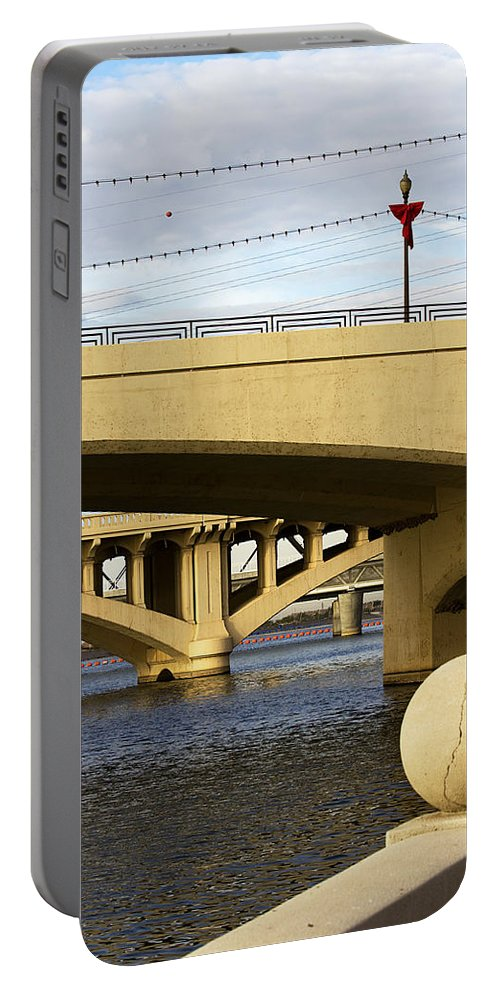 Bridge Portable Battery Charger featuring the photograph Three Bridges by Phyllis Denton
