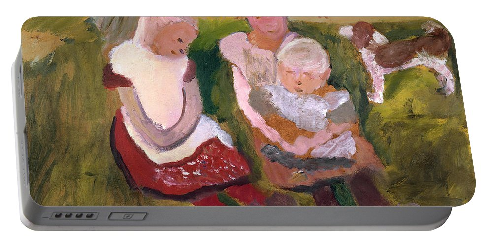 Paula Modersohn-becker Portable Battery Charger featuring the painting Three Children Sitting On A Hillside With Dog And Horse by Paula Modersohn-Becker