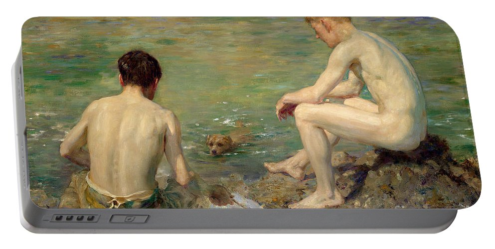 Bal13741 Portable Battery Charger featuring the painting Three Companions by Henry Scott Tuke