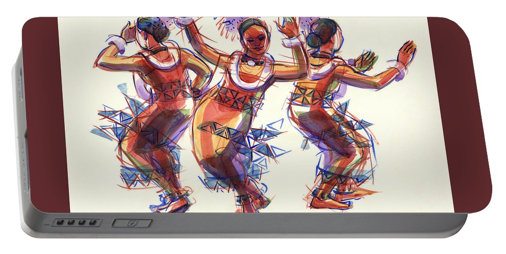 Dancers Portable Battery Charger featuring the painting Three Dancers Of Tongatapu by Judith Kunzle