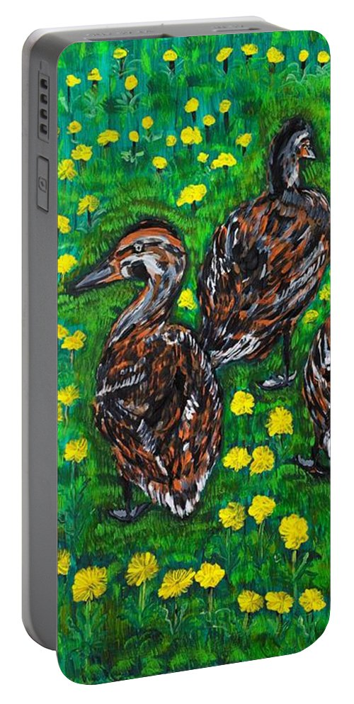 Bird Portable Battery Charger featuring the painting Three Ducklings by Valerie Ornstein