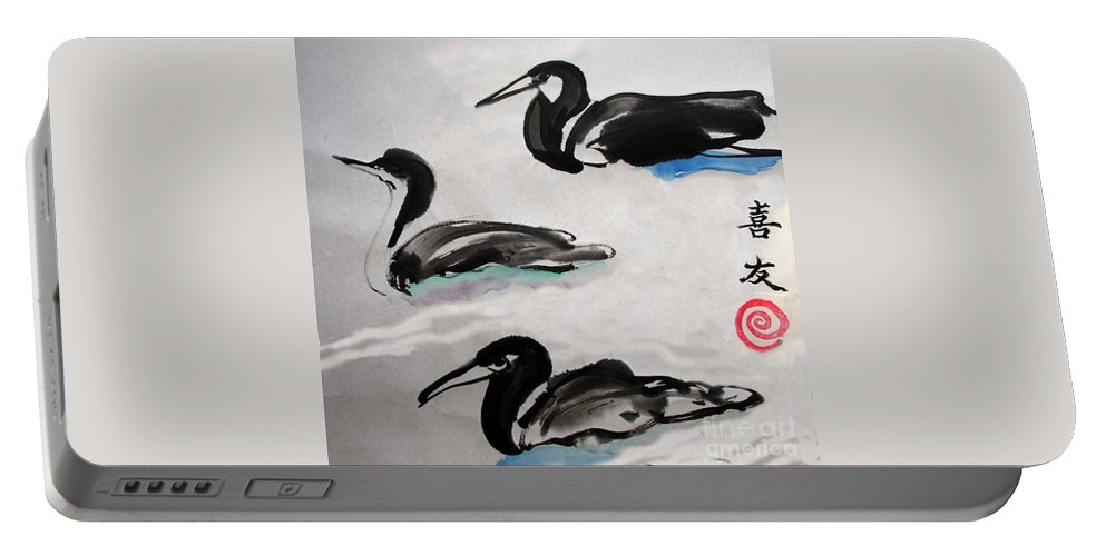 Sumi Ink Portable Battery Charger featuring the painting Three Ducks by Lisa Baack
