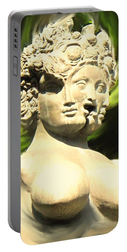 Abstract Portable Battery Charger featuring the photograph Three Faced Statue by Ian MacDonald