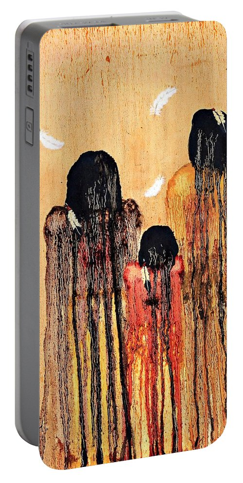 Art Portable Battery Charger featuring the painting Three Feathers by Patrick Trotter