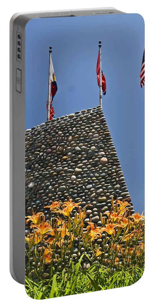 Flags Portable Battery Charger featuring the photograph Three Flags In Memphis Tennessee by Douglas Barnett