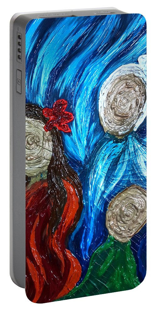 Three Portable Battery Charger featuring the painting Three Generations by Michelle Pier