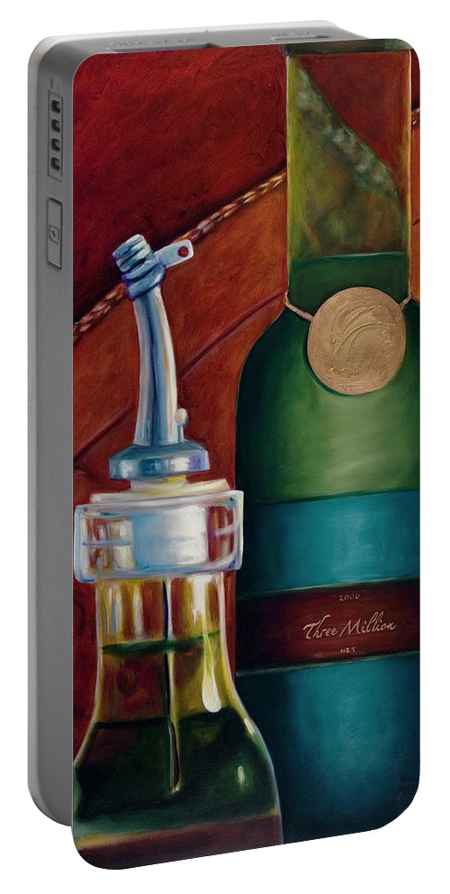 Olive Oil Portable Battery Charger featuring the painting Three Million Net by Shannon Grissom