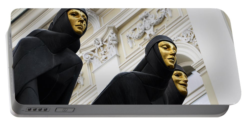 Sculpture Portable Battery Charger featuring the photograph Three Muses On The Lithuanian National Dramatic Theatre In Vilnius by RicardMN Photography