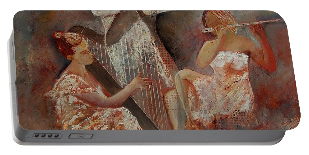 Music Portable Battery Charger featuring the painting Three Musicians by Pol Ledent