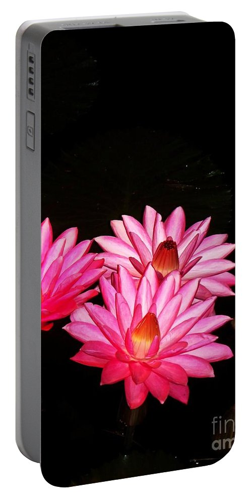 Photograph Portable Battery Charger featuring the photograph Three Night Lilies by Eric Schiabor