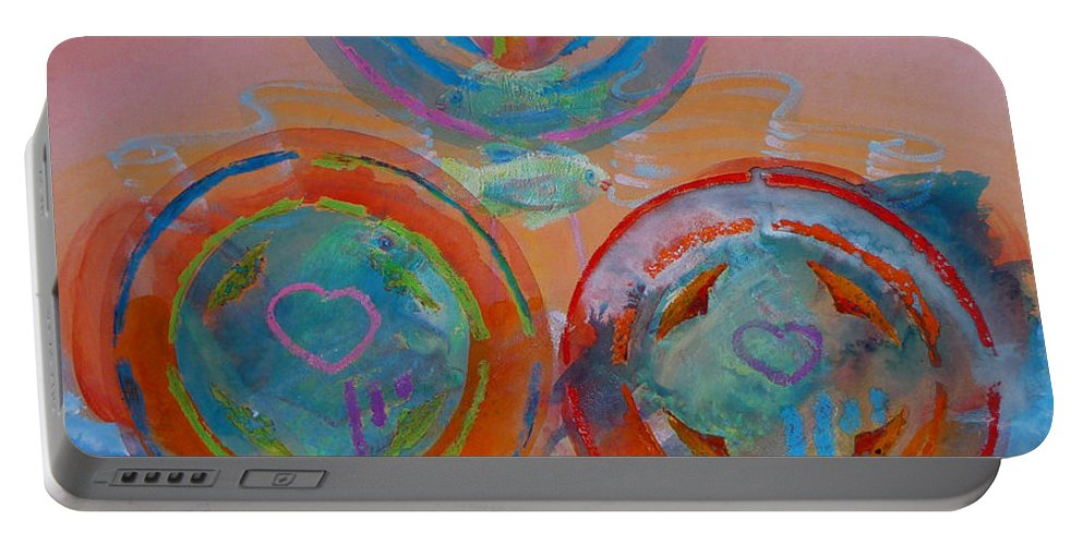 Logo Portable Battery Charger featuring the painting Three On Marine by Charles Stuart