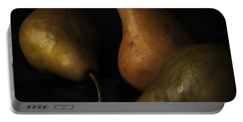 Three Pears Portable Battery Charger featuring the photograph Three Pears by Richard Rizzo