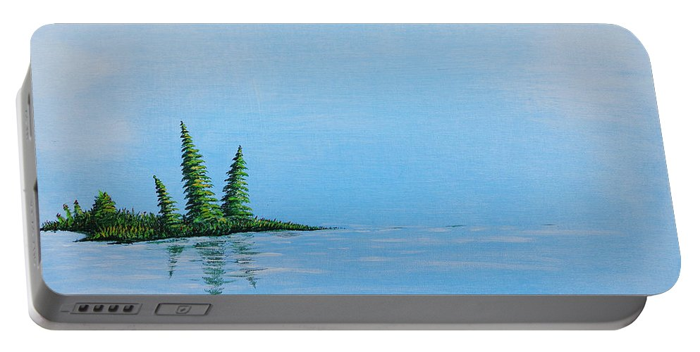 Paintings Portable Battery Charger featuring the painting Three Pine Island by Blake Wesley