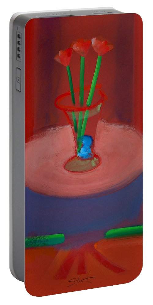 Poppies Portable Battery Charger featuring the painting Three Poppies In A Vase by Charles Stuart