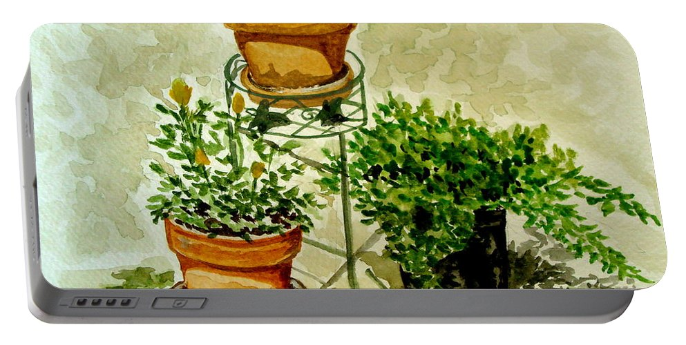 Plants Portable Battery Charger featuring the painting Three Potted Plants by Elizabeth Robinette Tyndall