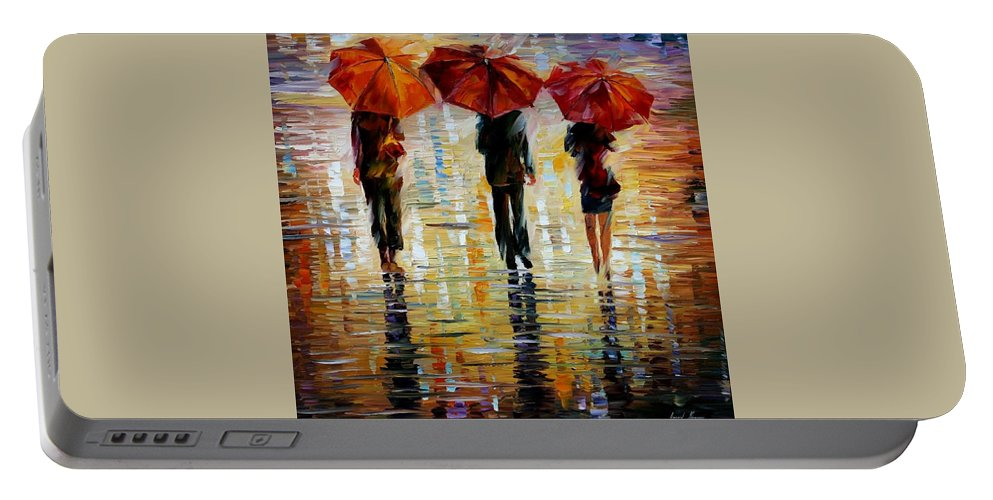 Cityscape Portable Battery Charger featuring the painting Three Red Umbrella by Leonid Afremov