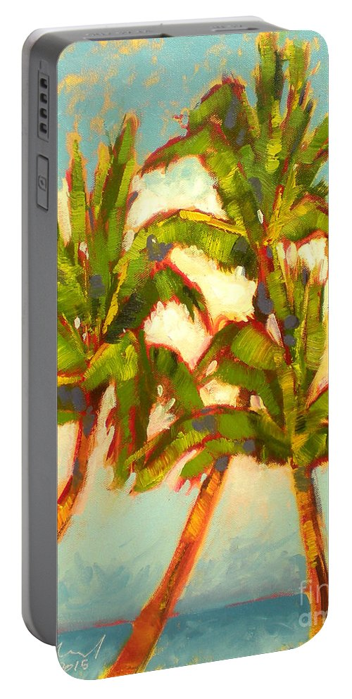 Place Portable Battery Charger featuring the painting Three Sisters - Keauhou Bay by Richard Rochkovsky