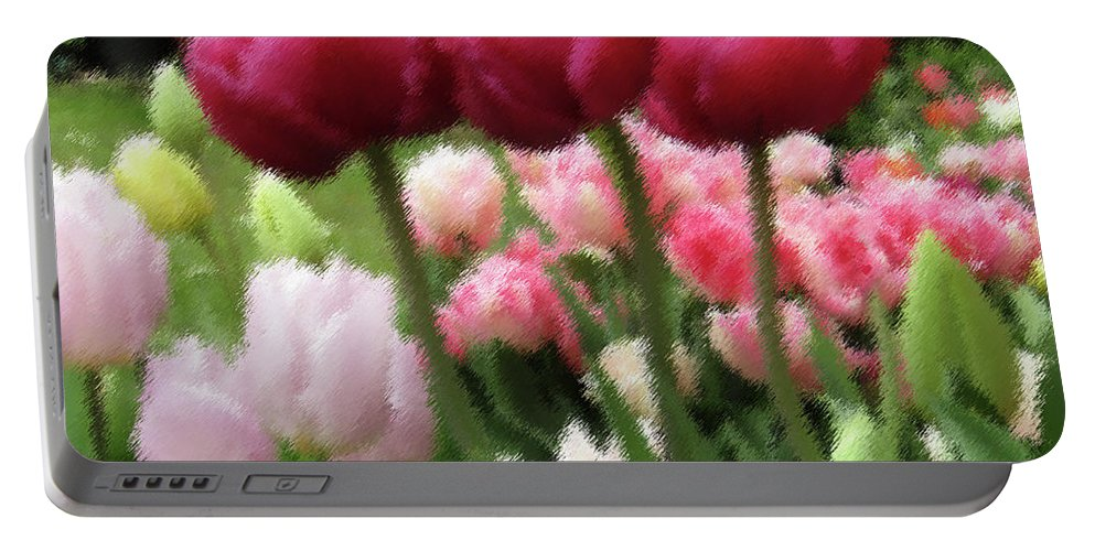 Tulips Portable Battery Charger featuring the photograph Three Sisters by Kim Tran