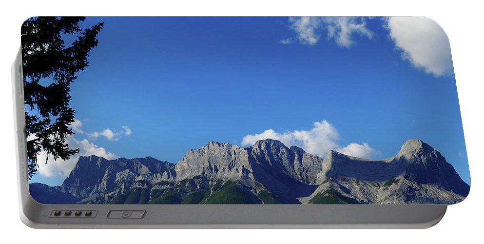Anne Portable Battery Charger featuring the photograph Three Sisters Ridges Canmore Alberta Gateway To Banff National Park by Wayne Moran