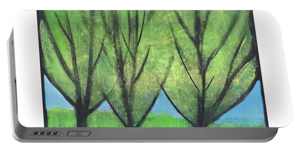Trees Portable Battery Charger featuring the painting Three Sisters by Tim Nyberg
