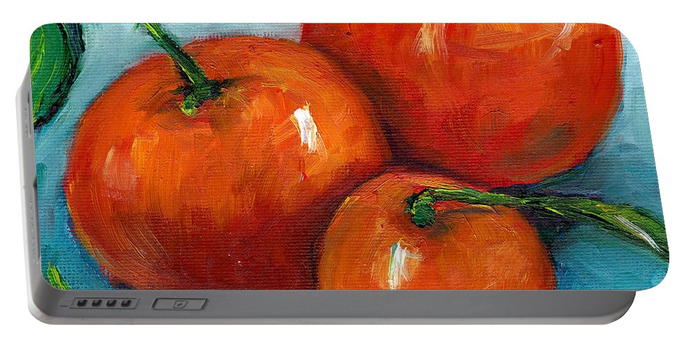 Still Life Portable Battery Charger featuring the painting Three Tangerines Still Life Grace Venditti Montreal Art by Grace Venditti