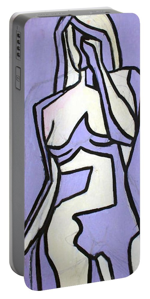 Nudes Portable Battery Charger featuring the painting Three by Thomas Valentine