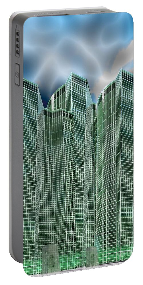 Glass Towers Portable Battery Charger featuring the digital art Three Towers 1 by Ron Bissett