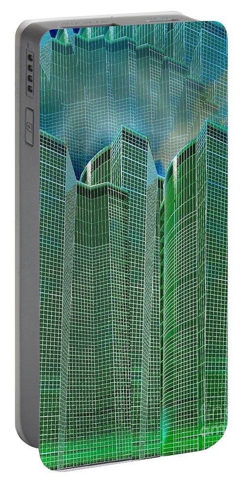 Glass Tower Portable Battery Charger featuring the digital art Three Towers 2 by Ron Bissett