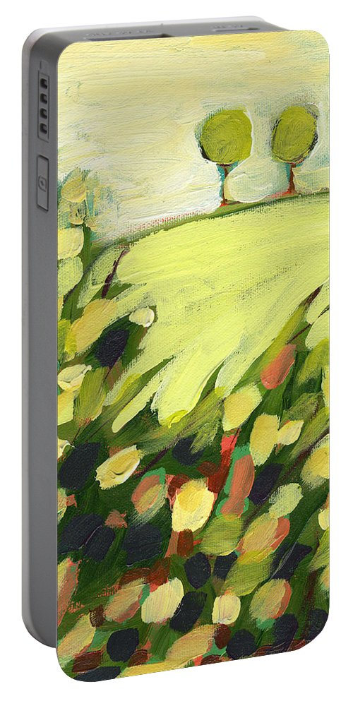 Landscape Portable Battery Charger featuring the painting Three Trees on a Hill by Jennifer Lommers