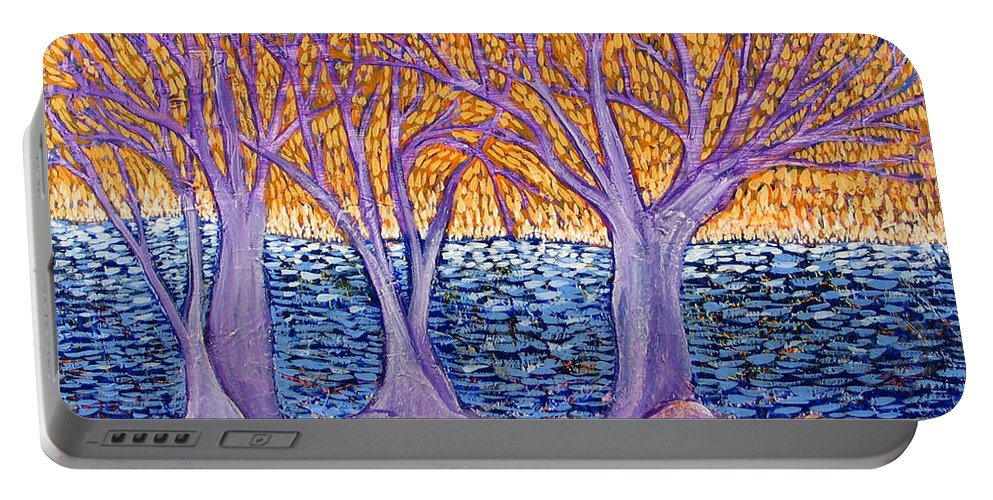 Landscape Portable Battery Charger featuring the painting Three Trees by Rollin Kocsis