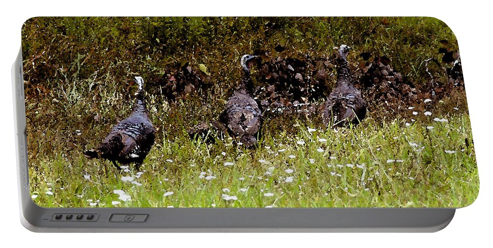 Turkey Portable Battery Charger featuring the painting Three Turkeys by David Lee Thompson