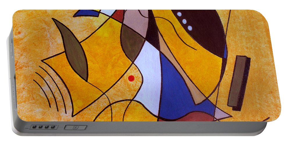Abstract Portable Battery Charger featuring the painting Three White Petals by Ruth Palmer